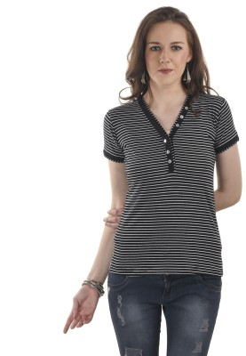 Ausehen Casual Short Sleeve Striped Women's Black Top