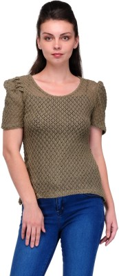 Enchanted Drapes Casual Short Sleeve Solid Women's Grey Top