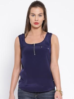 Harvard Casual Sleeveless Solid Women's Dark Blue Top