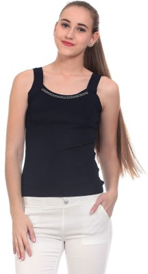 Claude 9 Casual Sleeveless Solid Women's Blue Top