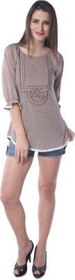 Florrie fusion Casual 3/4 Sleeve Embroidered Women's Brown Top