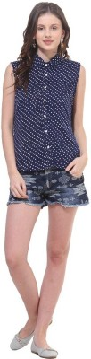 La Firangi Casual Sleeveless Printed Women's Dark Blue Top