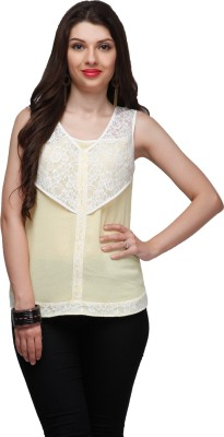 Eavan Casual Sleeveless Polka Print Women Yellow Top at flipkart