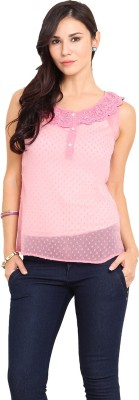 Paprika Casual Sleeveless Solid Women,s Pink Top