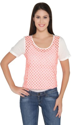 Ten on Ten Casual Short Sleeve Embroidered Women's White Top