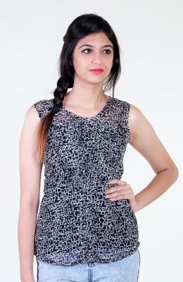 Aggana Casual Sleeveless Printed Women's Black Top