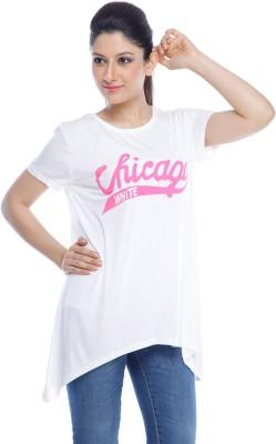 Designeez Casual Short Sleeve Self Design Women's White Top