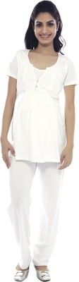 Nine Maternity Wear Casual Short Sleeve Solid Women's White Top