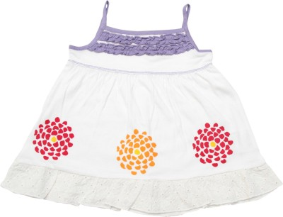 Jus Cubs Casual Sleeveless Embroidered Baby Girl's White Top