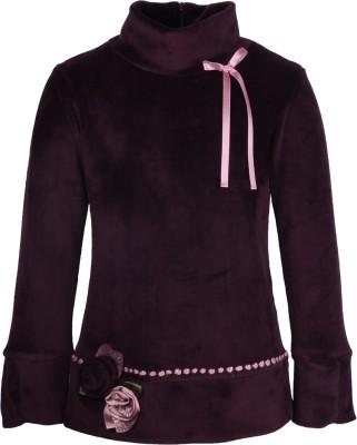 Cutecumber Party Full Sleeve Embellished Girl's Purple Top