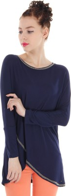 Pepe Jeans Casual Full Sleeve Solid Women's Blue Top