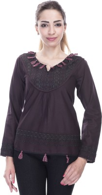 Falak Casual Full Sleeve Embroidered Women's Brown Top