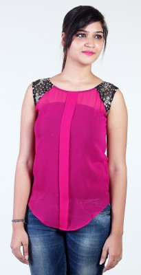Aggana Casual Sleeveless Embroidered Women's Pink Top