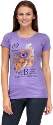 A A Store Casual Short Sleeve Solid, Printed Women's Purple Top
