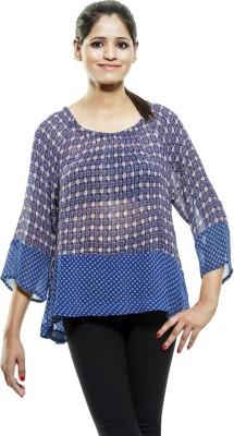 Kashana Fashions Casual 3/4 Sleeve Floral Print Women's Blue Top