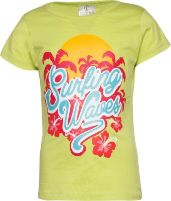 Joshua Tree Casual Short Sleeve Printed Girl's Green Top
