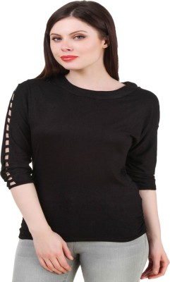 Komal Trading Co Wedding, Casual, Party 3/4 Sleeve Solid Women's Black Top