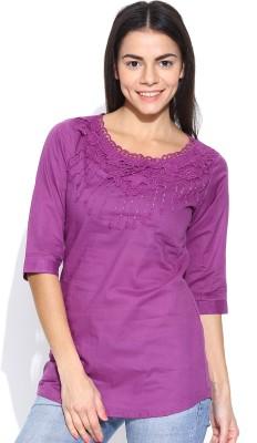 U&F Casual 3/4 Sleeve Solid Women's Purple Top