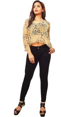 Reinvent Casual 3/4 Sleeve Self Design Women's Beige Top