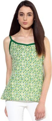 JaipurKurti Casual Sleeveless Geometric Print Women's Green Top