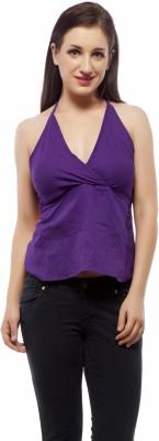 Indi Bargain Casual Sleeveless Solid Womens Purple Top