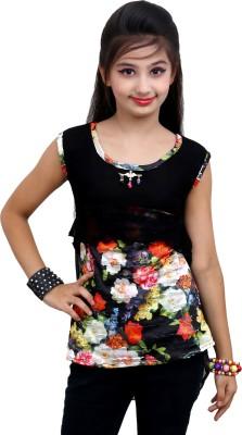 Blinkin Casual Sleeveless Floral Print Girl's Black Top