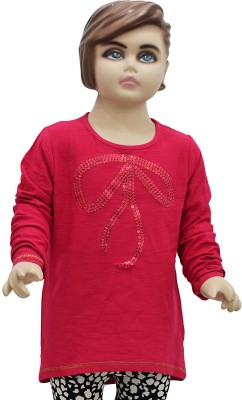 Urban Forest Casual Full Sleeve Embellished Girl's Red Top