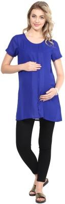 Mine4Nine Casual Cap sleeve Solid Women's Blue Top