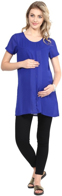 Mine4Nine Casual Cap Sleeve Solid Women's Blue Top