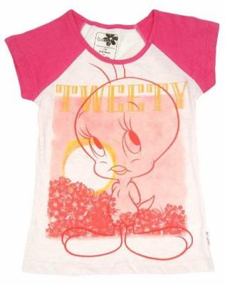 Tweety Casual Short Sleeve Printed Girl's Multicolor Top