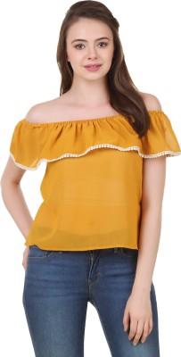 BrandMeUp Casual, Party, Formal, Beach Wear, Lounge Wear, Festive Cap sleeve Solid Women's Yellow Top