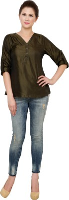 Zotw Casual Roll-up Sleeve Solid Women's Green Top