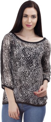 MansiCollections Casual 3/4 Sleeve Printed Women's Black Top