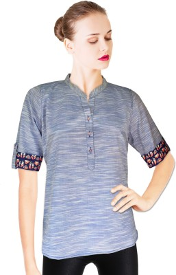 BeforeAfter Casual Short Sleeve Solid Women's Blue Top