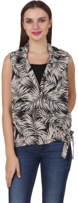 One Femme Casual, Lounge Wear Sleeveless Printed Women,s Multicolor Top