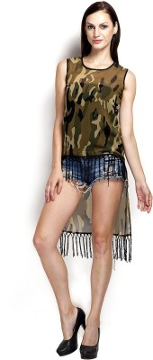 Popnetic Casual Short Sleeve Printed Women's Green Top