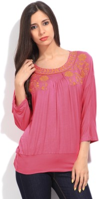 Global Desi Casual 3/4 Sleeve Solid Women's Pink Top
