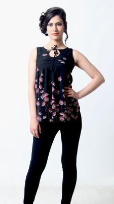 Silhouette Fashion Casual Sleeveless Floral Print Women's Black, Red Top