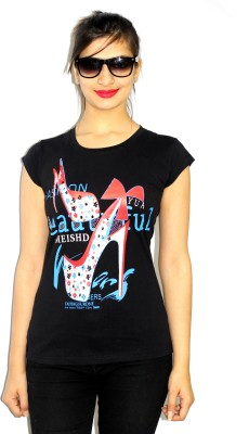 99DailyDeals Casual Short Sleeve Printed Women's Black Top
