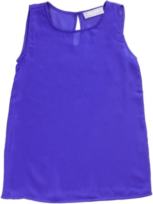 Kami Casual Sleeveless Solid Girl's Blue Top