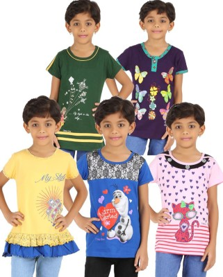 Meril Casual Short Sleeve Floral Print, Printed Girl's Yellow, Blue, Pink, Green, Purple Top