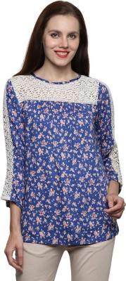 Prakum Casual 3/4 Sleeve Printed Women,s Blue Top