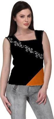 Avya Casual Sleeveless Floral Print Women's Black Top