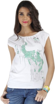 Chlorophile Casual Sleeveless Printed Women's White Top