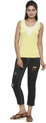 Five Stone Casual Sleeveless Solid Women's Yellow Top