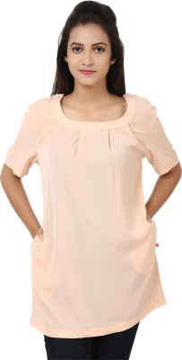 Tops and Tunics Formal Short Sleeve Solid Women's Beige Top at flipkart