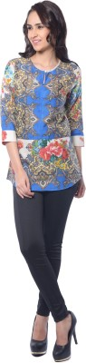 Florriefusion Casual 3/4 Sleeve Floral Print Women's Blue Top