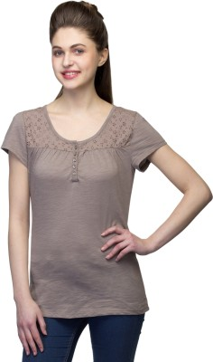 One Femme Party, Formal Short Sleeve Solid Women's Brown Top