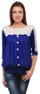PINK SISLY Casual 3/4 Sleeve Solid Women's Blue Top
