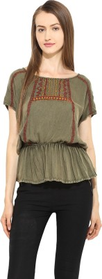 Free & Young Casual Short Sleeve Embroidered Women's Green Top